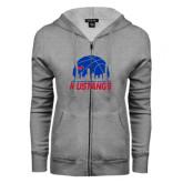 ENZA Ladies Grey Fleece Full Zip Hoodie-Mustangs Basketball Dallas Skyline