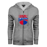 ENZA Ladies Grey Fleece Full Zip Hoodie-SMU Basketball Stacked on Ball