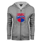 ENZA Ladies Grey Fleece Full Zip Hoodie-SMU Basketball Stacked on Ball