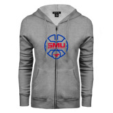 ENZA Ladies Grey Fleece Full Zip Hoodie-SMU Basketball Block Stacked in Circle