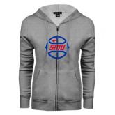 ENZA Ladies Grey Fleece Full Zip Hoodie-SMU Basketball Block in Circle