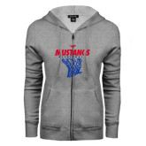 ENZA Ladies Grey Fleece Full Zip Hoodie-Mustangs Basketball Stacked w/ Net