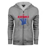 ENZA Ladies Grey Fleece Full Zip Hoodie-Mustangs Basketball Stacked w/ Net