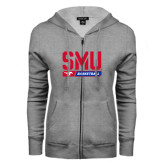 ENZA Ladies Grey Fleece Full Zip Hoodie-SMU Basketball Stencil