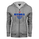 ENZA Ladies Grey Fleece Full Zip Hoodie-Mustangs Basketball Net Icon