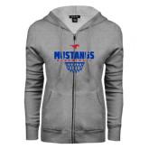 ENZA Ladies Grey Fleece Full Zip Hoodie-Mustangs Basketball Net Icon