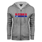 ENZA Ladies Grey Fleece Full Zip Hoodie-Mustangs Basketball Stacked Bar