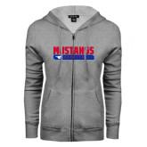 ENZA Ladies Grey Fleece Full Zip Hoodie-Mustangs Basketball Stacked Bar