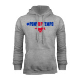 Grey Fleece Hoodie-#PonyUpTempo Above Mustang