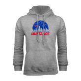 Grey Fleece Hoodie-Mustangs Basketball Dallas Skyline