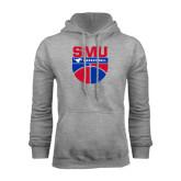 Grey Fleece Hoodie-SMU Basketball Stacked on Ball