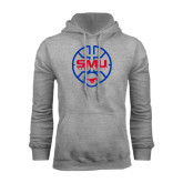 Grey Fleece Hood-SMU Basketball Block Stacked in Circle