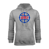 Grey Fleece Hoodie-SMU Basketball Block in Circle