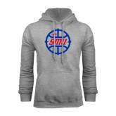 Grey Fleece Hoodie-SMU Basketball Block in Circle