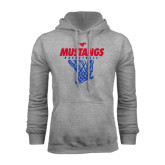 Grey Fleece Hoodie-Mustangs Basketball Stacked w/ Net