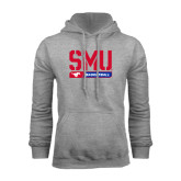Grey Fleece Hoodie-SMU Basketball Stencil