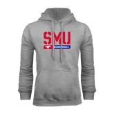 Grey Fleece Hoodie-SMU Basketball Stencil