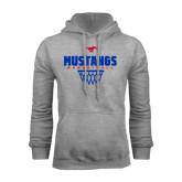 Grey Fleece Hoodie-Mustangs Basketball Net Icon