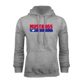 Grey Fleece Hoodie-Mustangs Basketball Stacked Bar