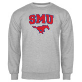 Grey Fleece Crew-SMU w/Mustang
