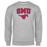 Grey Fleece Crew-SMU w/Mustang
