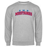 Grey Fleece Crew-Arched SMU Mustangs