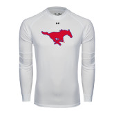 Under Armour White Long Sleeve Tech Tee-Official Outlined Logo