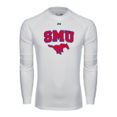 Under Armour White Long Sleeve Tech Tee-SMU w/Mustang