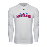 Under Armour White Long Sleeve Tech Tee-Arched SMU Mustangs