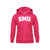 Youth Raspberry Fleece Hoodie-Block SMU