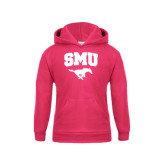 Youth Raspberry Fleece Hoodie-SMU w/Mustang