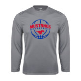 Syntrel Performance Steel Longsleeve Shirt-Mustangs Basketball Arched w/ Ball