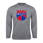 Syntrel Performance Steel Longsleeve Shirt-SMU Basketball Stacked on Ball