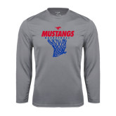 Syntrel Performance Steel Longsleeve Shirt-Mustangs Basketball Stacked w/ Net