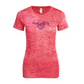Next Level Ladies Junior Fit Fuchsia Burnout Tee-Rhinestone Pony