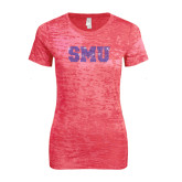 Next Level Ladies Junior Fit Fuchsia Burnout Tee-Rhinestone SMU