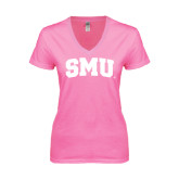 Next Level Ladies Junior Fit Ideal V Pink Tee-Block SMU