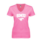 Next Level Ladies Junior Fit Deep V Pink Tee-SMU w/Mustang