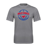 Performance Grey Concrete Tee-Mustangs Basketball Arched w/ Ball