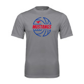 Performance Grey Concrete Tee-Mustangs Basketball Lined Ball
