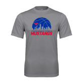 Performance Grey Concrete Tee-Mustangs Basketball Dallas Skyline
