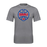 Performance Grey Concrete Tee-SMU Basketball Block Stacked in Circle