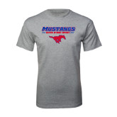 Grey T Shirt-Stacked Athletic Mustangs Design