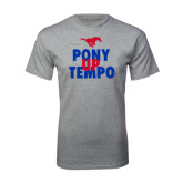Grey T Shirt-Pony Up Tempo Stacked