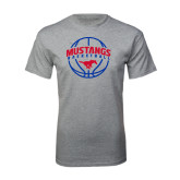 Grey T Shirt-Mustangs Basketball Arched w/ Ball