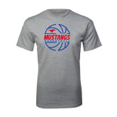 Grey T Shirt-Mustangs Basketball Lined Ball