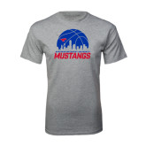 Grey T Shirt-Mustangs Basketball Dallas Skyline