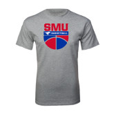 Grey T Shirt-SMU Basketball Stacked on Ball