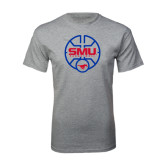 Grey T Shirt-SMU Basketball Block Stacked in Circle