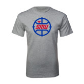 Grey T Shirt-SMU Basketball Block in Circle